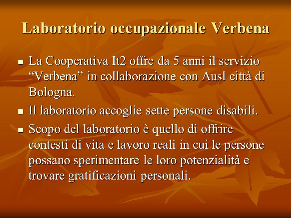 Laboratorio occupazionale Verbena La Cooperativa It2 offre da 5 anni il servizio Verbena in collaborazione con Ausl città di Bologna.
