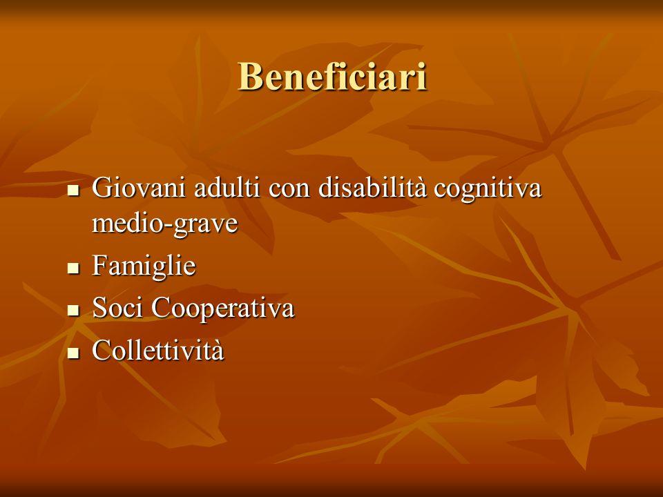Beneficiari Giovani adulti con disabilità cognitiva medio-grave Giovani adulti con disabilità cognitiva medio-grave Famiglie Famiglie Soci Cooperativa Soci Cooperativa Collettività Collettività