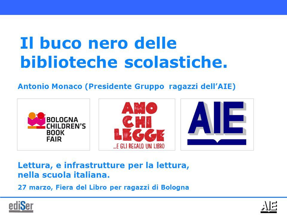 Antonio Monaco (Presidente Gruppo ragazzi dell'AIE) Il buco nero delle biblioteche scolastiche. Lettura, e infrastrutture per la lettura, nella scuola