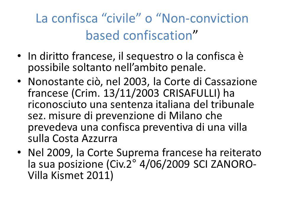 """La confisca """"civile"""" o """"Non-conviction based confiscation"""" In diritto francese, il sequestro o la confisca è possibile soltanto nell'ambito penale. No"""