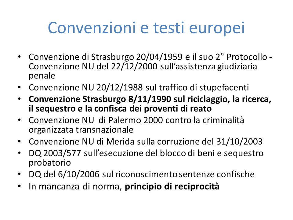 Convenzioni e testi europei Convenzione di Strasburgo 20/04/1959 e il suo 2° Protocollo - Convenzione NU del 22/12/2000 sull'assistenza giudiziaria pe