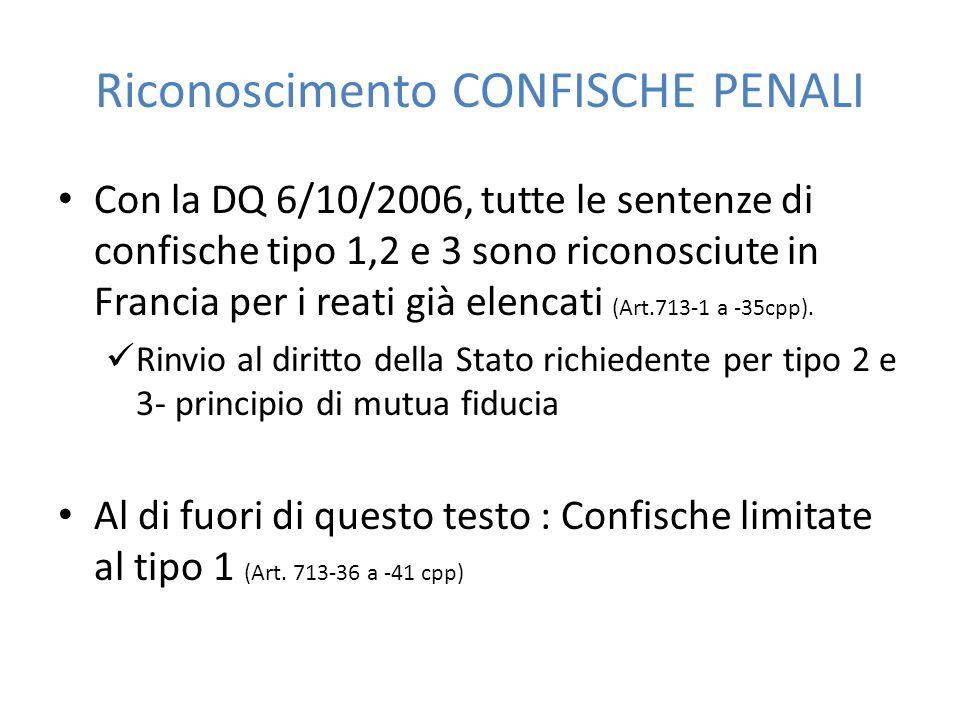 Riconoscimento CONFISCHE PENALI Con la DQ 6/10/2006, tutte le sentenze di confische tipo 1,2 e 3 sono riconosciute in Francia per i reati già elencati