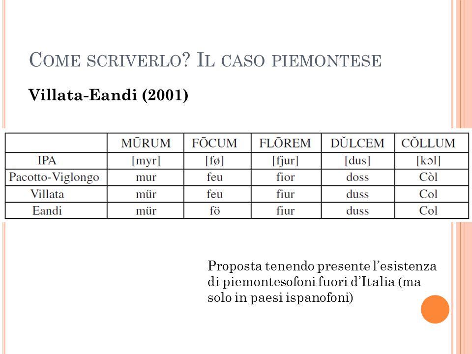 C OME SCRIVERLO ? I L CASO PIEMONTESE Villata-Eandi (2001) Proposta tenendo presente l'esistenza di piemontesofoni fuori d'Italia (ma solo in paesi is