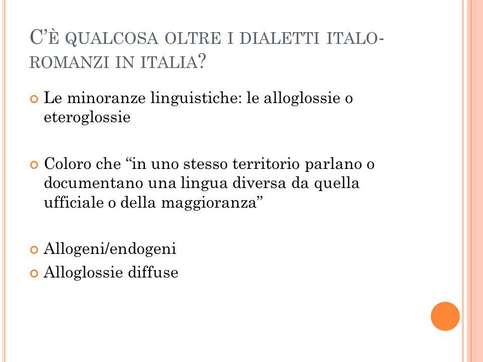 """C' È QUALCOSA OLTRE I DIALETTI ITALO - ROMANZI IN ITALIA ? Le minoranze linguistiche: le alloglossie o eteroglossie Coloro che """"in uno stesso territor"""
