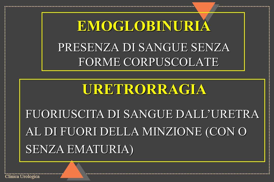 Clinica Urologica EMOGLOBINURIA PRESENZA DI SANGUE SENZA FORME CORPUSCOLATE URETRORRAGIA FUORIUSCITA DI SANGUE DALL'URETRA AL DI FUORI DELLA MINZIONE