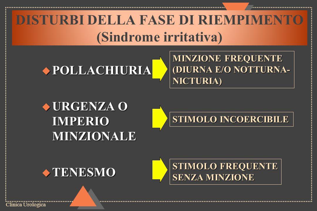 Clinica Urologica SINDROME OSTRUTTIVA u DISURIA (difficoltà alla minzione) Inizialeesitazione Totaleponzamento u GETTO IPOVALIDO u SGOCCIOLAMENTO POST- MINZIONALE u MINZIONE INCOMPLETA O IN PIU' TEMPI DISTURBI DELLA FASE DI SVUOTAMENTO (Sindrome ostruttiva)
