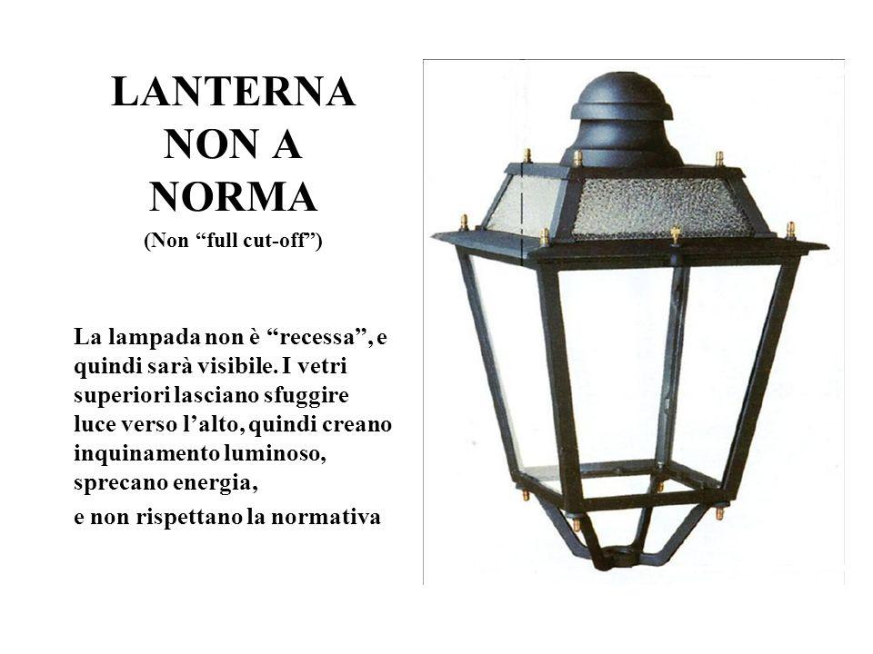 LANTERNA NON A NORMA (Non full cut-off ) La lampada non è recessa , e quindi sarà visibile.