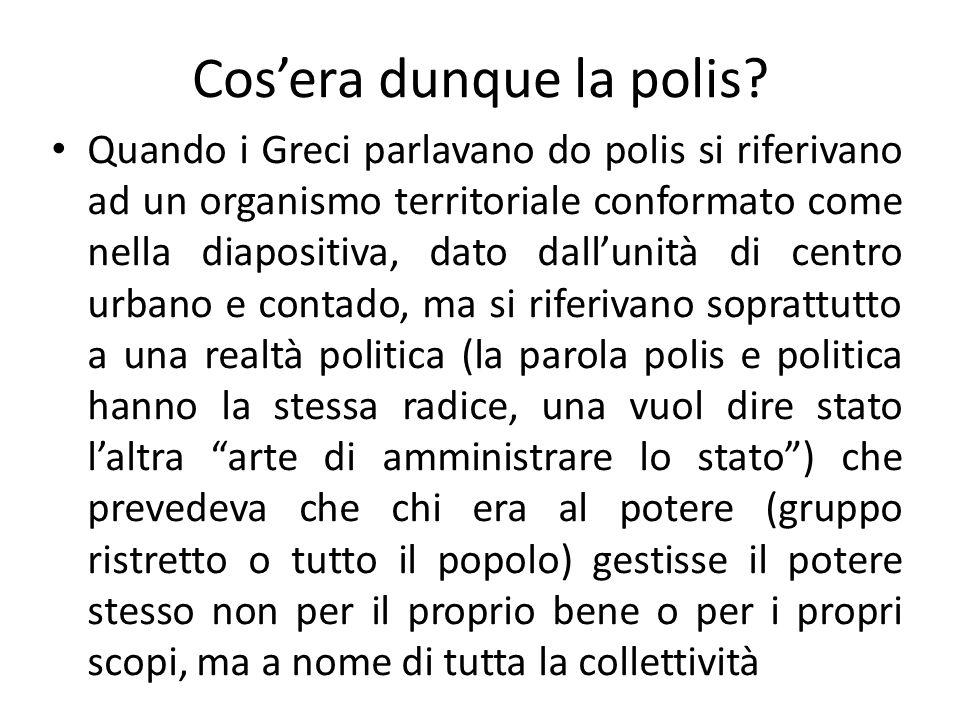 Cos'era dunque la polis? Quando i Greci parlavano do polis si riferivano ad un organismo territoriale conformato come nella diapositiva, dato dall'uni