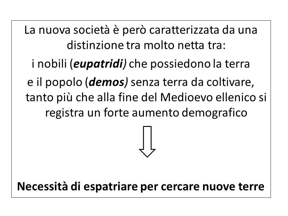 La nuova società è però caratterizzata da una distinzione tra molto netta tra: i nobili (eupatridi) che possiedono la terra e il popolo (demos) senza