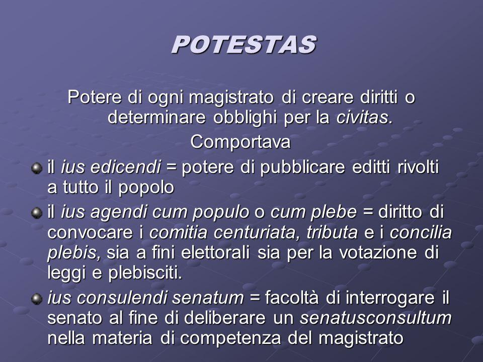 IMPERIUM Potestas assistita da coercitio Era prerogativa dei soli consoli e pretori Coercitio = facoltà di un magistrato di disporre direttamente di una forza pubblica per l'esecuzione coattiva di ordini da questi disposti.