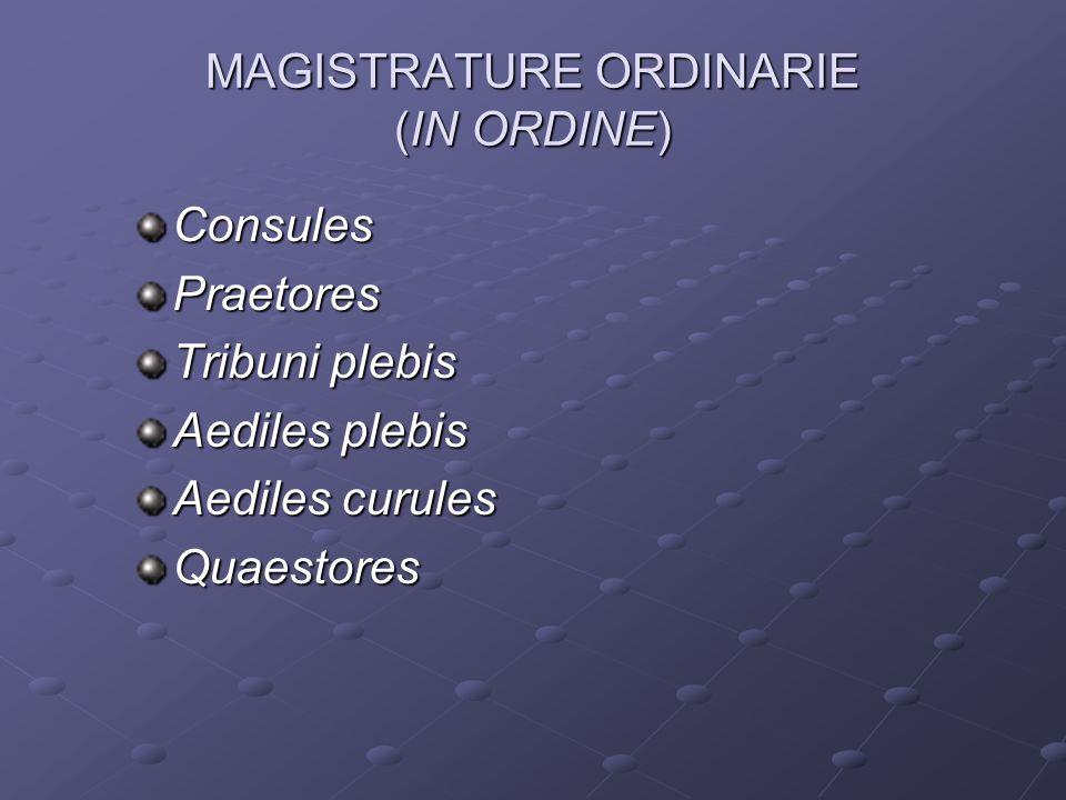 MAGISTRATURE ORDINARIE (IN ORDINE) ConsulesPraetores Tribuni plebis Aediles plebis Aediles curules Quaestores