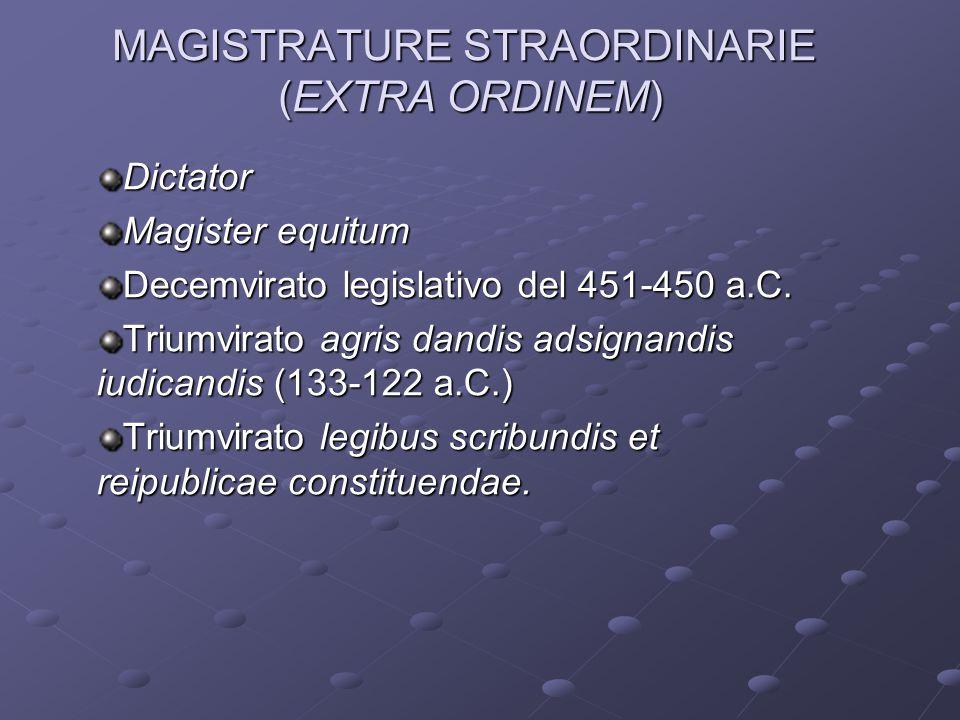 MAGISTRATURE STRAORDINARIE (EXTRA ORDINEM) Dictator Magister equitum Decemvirato legislativo del 451-450 a.C. Triumvirato agris dandis adsignandis iud