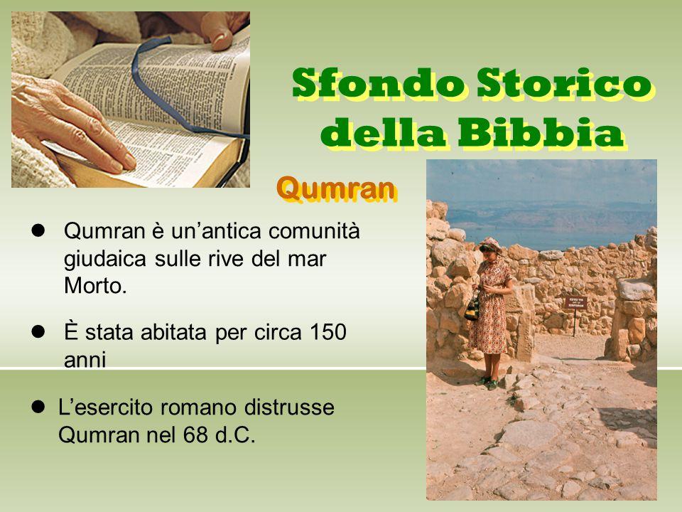 Sfondo Storico della Bibbia Qumran è un'antica comunità giudaica sulle rive del mar Morto. È stata abitata per circa 150 anni L'esercito romano distru