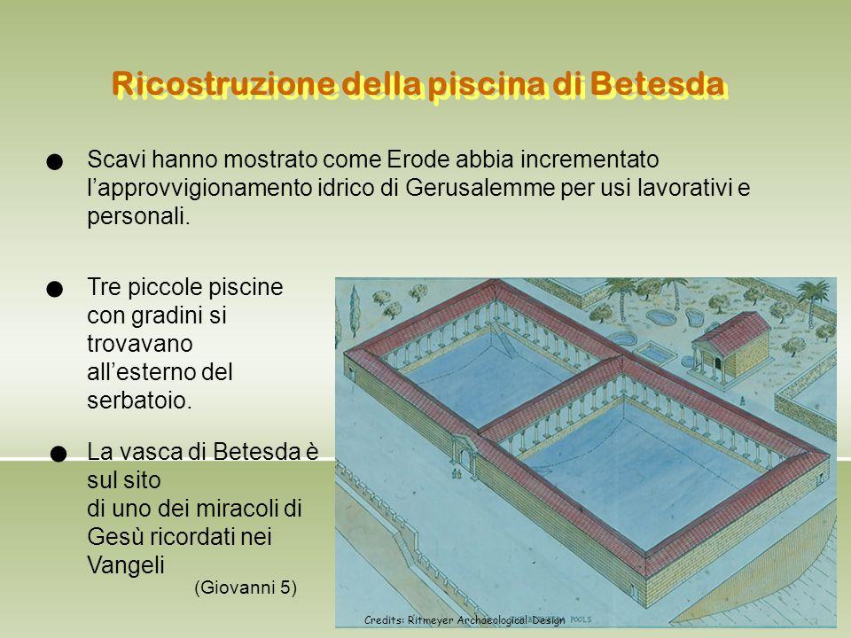 Ricostruzione della piscina di Betesda Scavi hanno mostrato come Erode abbia incrementato l'approvvigionamento idrico di Gerusalemme per usi lavorativ