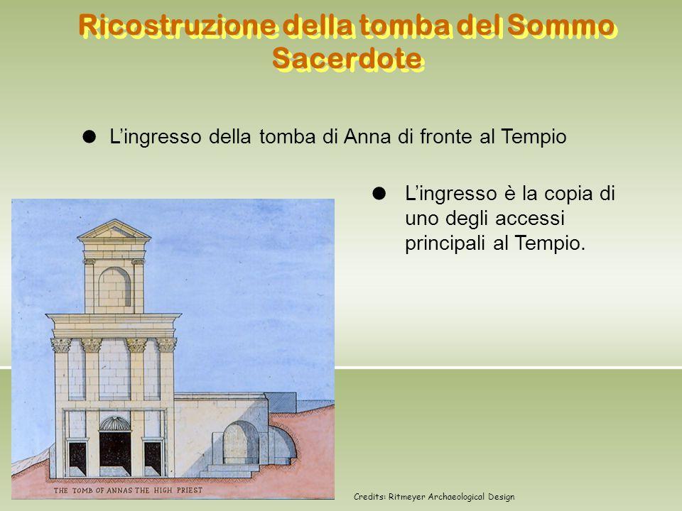 Ricostruzione della tomba del Sommo Sacerdote L'ingresso della tomba di Anna di fronte al Tempio L'ingresso è la copia di uno degli accessi principali