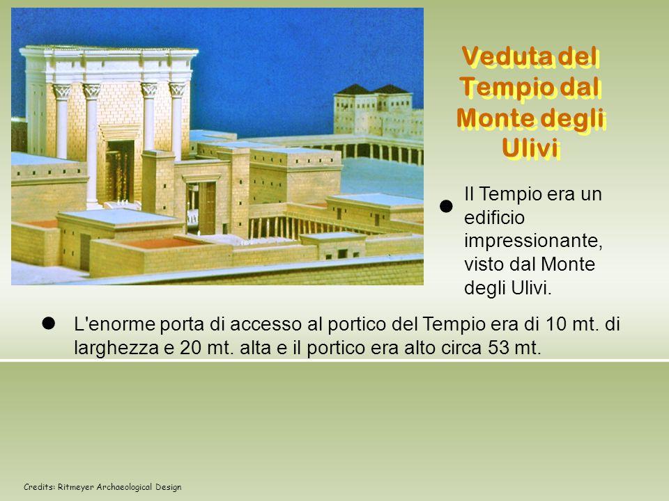 Veduta del Tempio dal Monte degli Ulivi Il Tempio era un edificio impressionante, visto dal Monte degli Ulivi. L'enorme porta di accesso al portico de