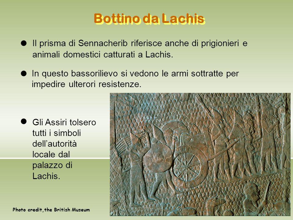 Bottino da Lachis Photo credit,the British Museum Il prisma di Sennacherib riferisce anche di prigionieri e animali domestici catturati a Lachis. In q