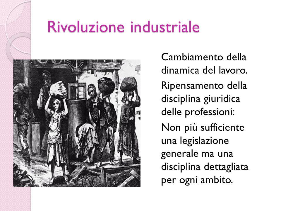 Rivoluzione industriale Cambiamento della dinamica del lavoro.