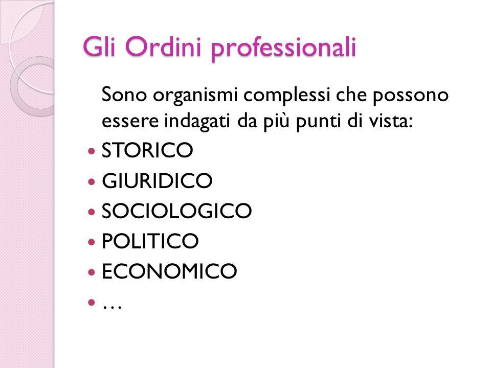 Gli Ordini professionali Sono organismi complessi che possono essere indagati da più punti di vista: STORICO GIURIDICO SOCIOLOGICO POLITICO ECONOMICO …