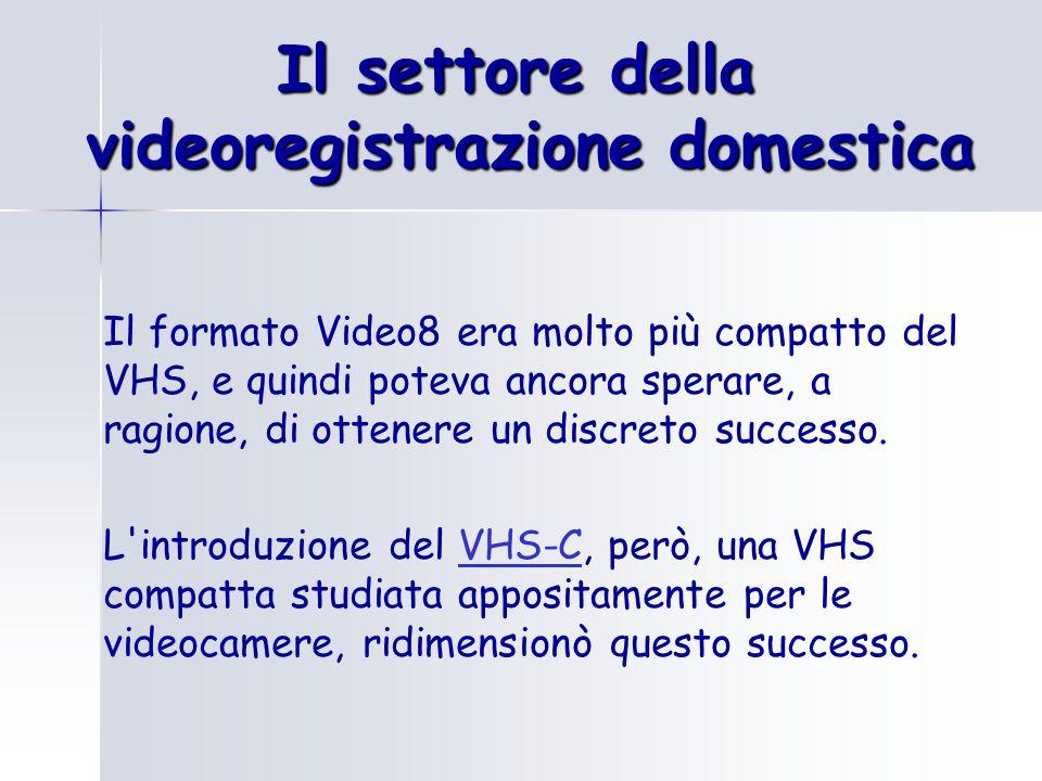 Il settore della videoregistrazione domestica Il formato Video8 era molto più compatto del VHS, e quindi poteva ancora sperare, a ragione, di ottenere un discreto successo.