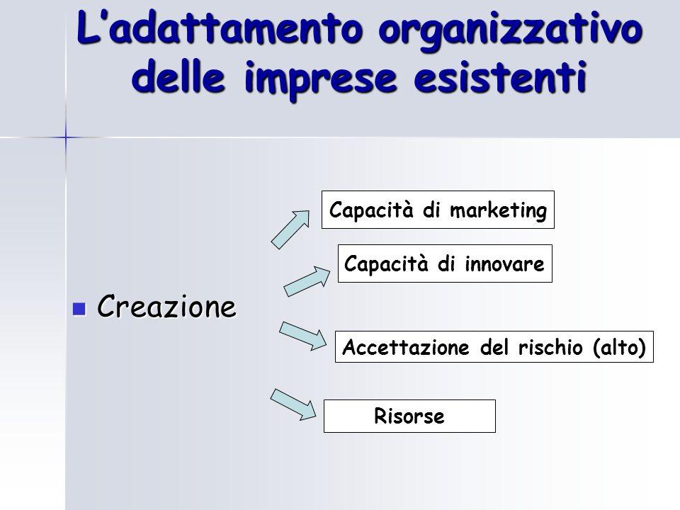 L'adattamento organizzativo delle imprese esistenti Creazione Creazione Capacità di marketing Accettazione del rischio (alto) Risorse Capacità di innovare