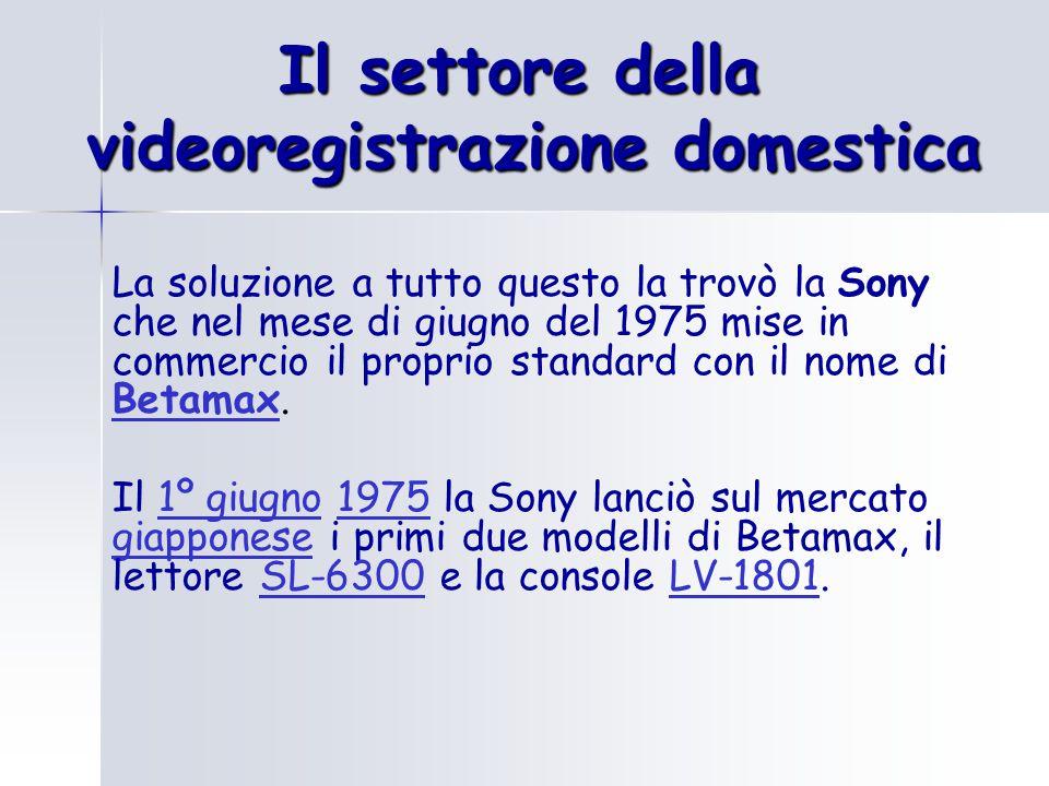 Il settore della videoregistrazione domestica La soluzione a tutto questo la trovò la Sony che nel mese di giugno del 1975 mise in commercio il proprio standard con il nome di Betamax.