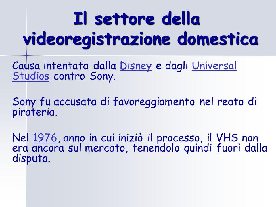 Il settore della videoregistrazione domestica Causa intentata dalla Disney e dagli Universal Studios contro Sony.DisneyUniversal Studios Sony fu accusata di favoreggiamento nel reato di pirateria.
