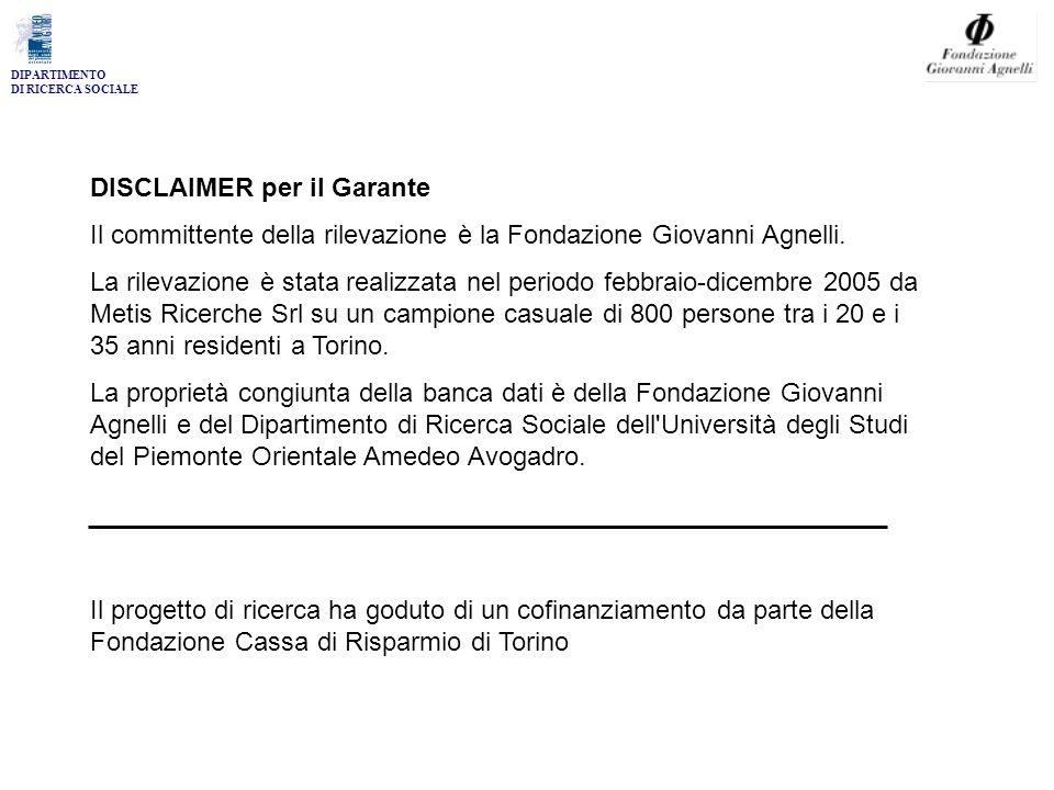 DIPARTIMENTO DI RICERCA SOCIALE DISCLAIMER per il Garante Il committente della rilevazione è la Fondazione Giovanni Agnelli.