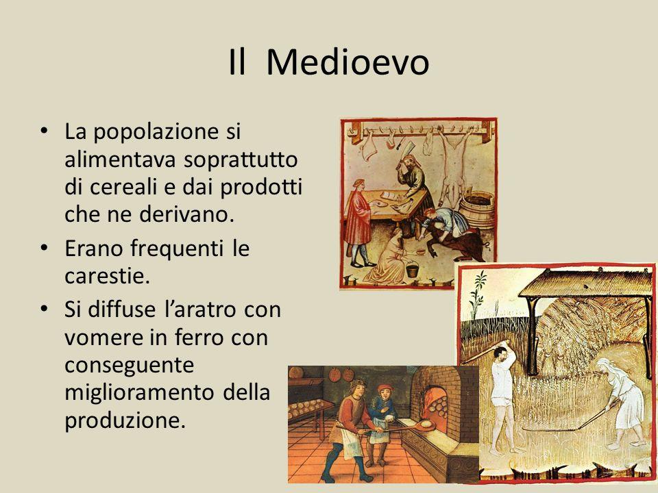 Il Medioevo La popolazione si alimentava soprattutto di cereali e dai prodotti che ne derivano. Erano frequenti le carestie. Si diffuse l'aratro con v