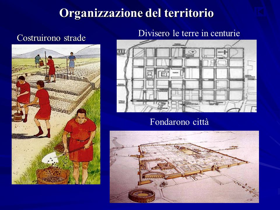 Organizzazione del territorio Costruirono strade Fondarono città Divisero le terre in centurie
