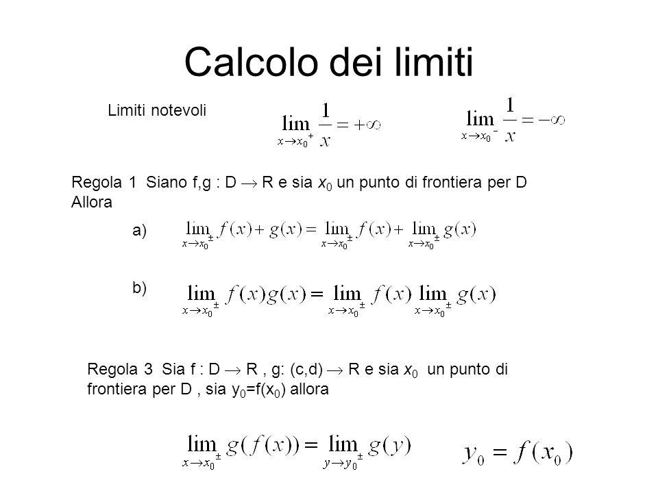 Calcolo dei limiti Limiti notevoli Regola 1 Siano f,g : D  R e sia x 0 un punto di frontiera per D Allora Regola 3 Sia f : D  R, g: (c,d)  R e sia x 0 un punto di frontiera per D, sia y 0 =f(x 0 ) allora a) b)
