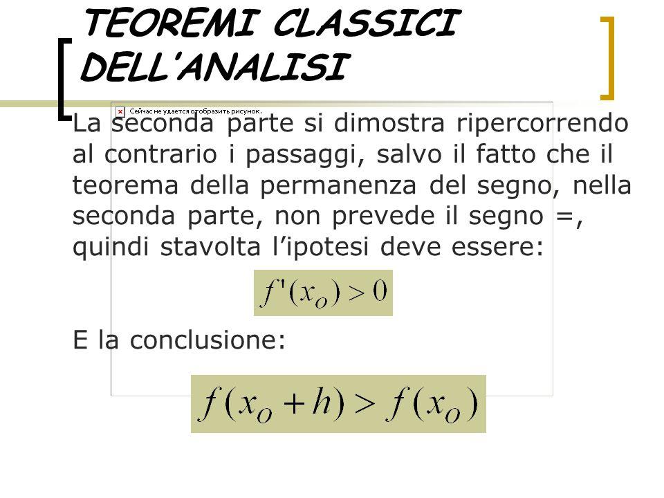 TEOREMI CLASSICI DELL'ANALISI La seconda parte si dimostra ripercorrendo al contrario i passaggi, salvo il fatto che il teorema della permanenza del s