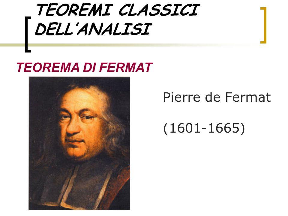 TEOREMI CLASSICI DELL'ANALISI TEOREMA DI FERMAT Pierre de Fermat (1601-1665)