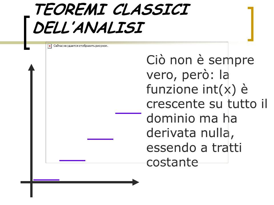 TEOREMI CLASSICI DELL'ANALISI Ciò non è sempre vero, però: la funzione int(x) è crescente su tutto il dominio ma ha derivata nulla, essendo a tratti c