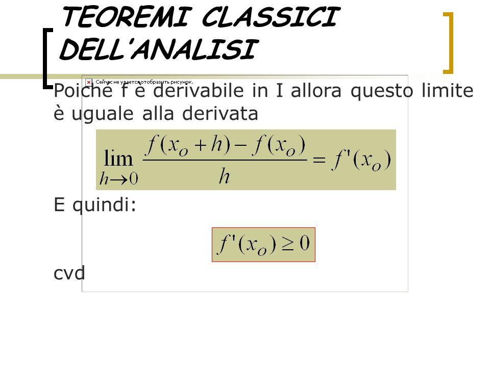 TEOREMI CLASSICI DELL'ANALISI La seconda parte si dimostra ripercorrendo al contrario i passaggi, salvo il fatto che il teorema della permanenza del segno, nella seconda parte, non prevede il segno =, quindi stavolta l'ipotesi deve essere: E la conclusione: