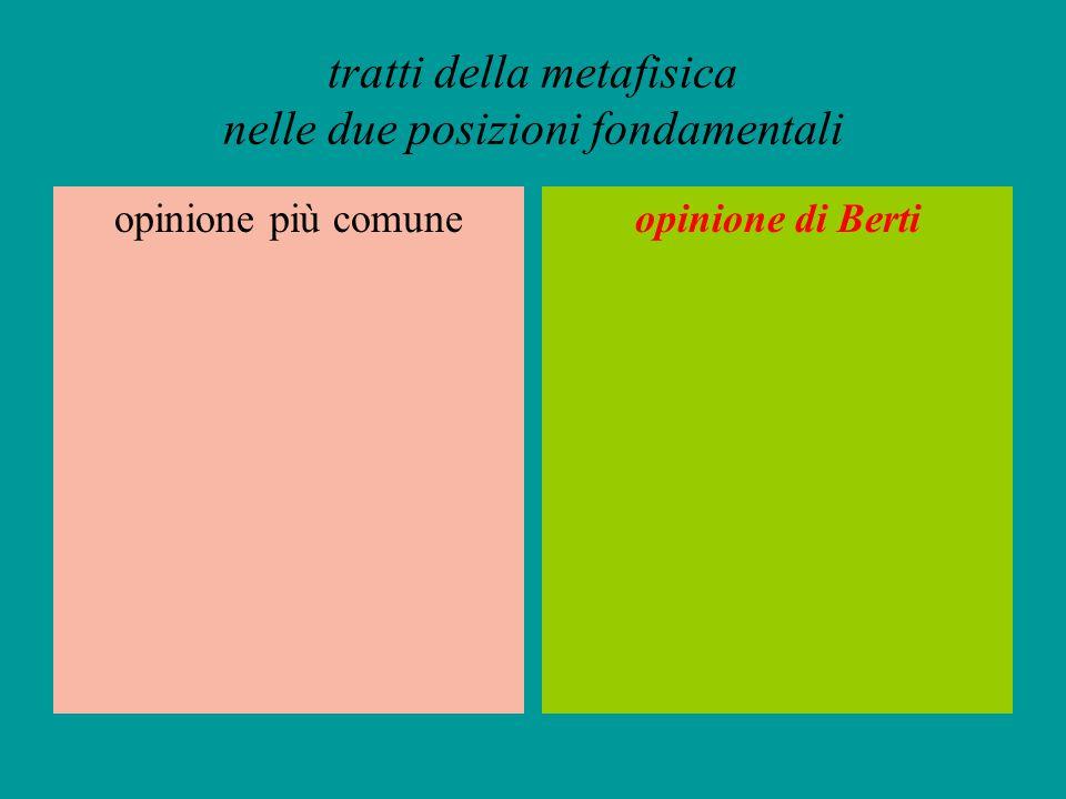 tratti della metafisica nelle due posizioni fondamentali opinione più comuneopinione di Berti