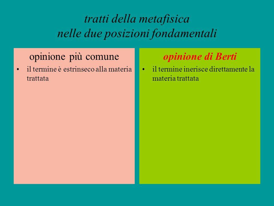 tratti della metafisica nelle due posizioni fondamentali opinione più comune il termine è estrinseco alla materia trattata opinione di Berti il termin