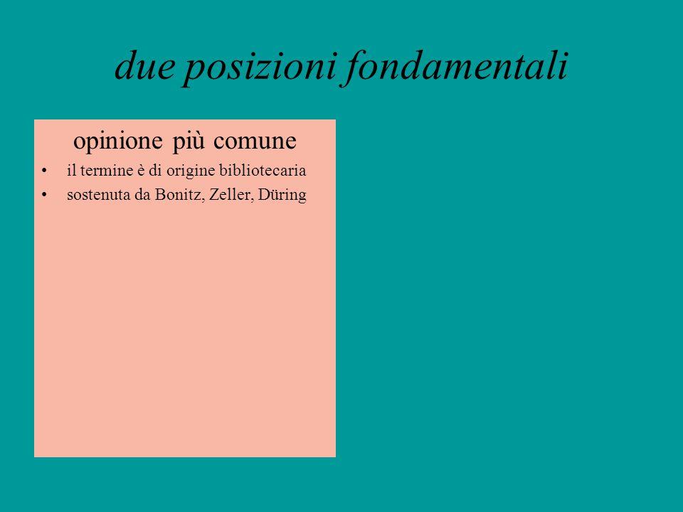 due posizioni fondamentali opinione più comune il termine è di origine bibliotecaria sostenuta da Bonitz, Zeller, Düring