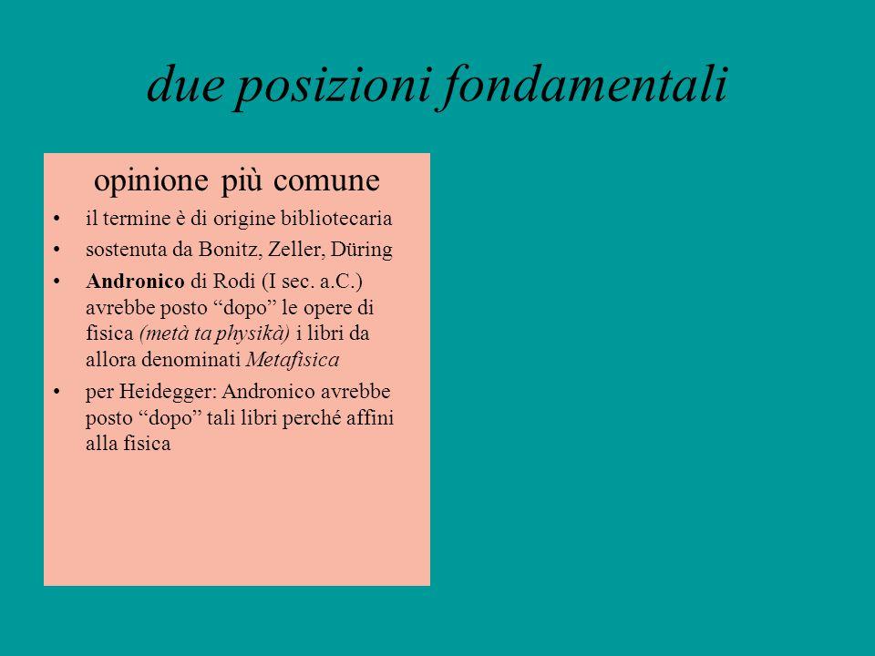 due posizioni fondamentali opinione più comune il termine è di origine bibliotecaria sostenuta da Bonitz, Zeller, Düring Andronico di Rodi (I sec. a.C