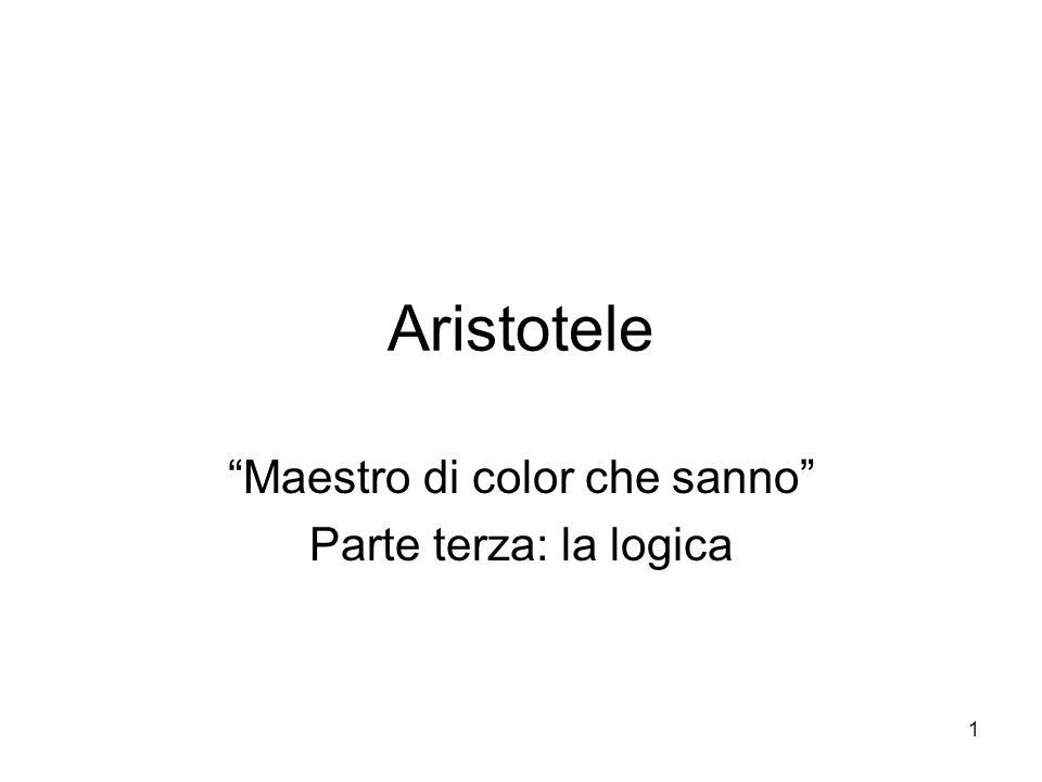 """Aristotele """"Maestro di color che sanno"""" Parte terza: la logica 1"""