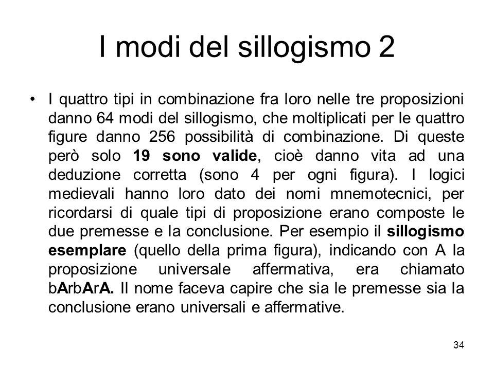 I modi del sillogismo 2 I quattro tipi in combinazione fra loro nelle tre proposizioni danno 64 modi del sillogismo, che moltiplicati per le quattro f