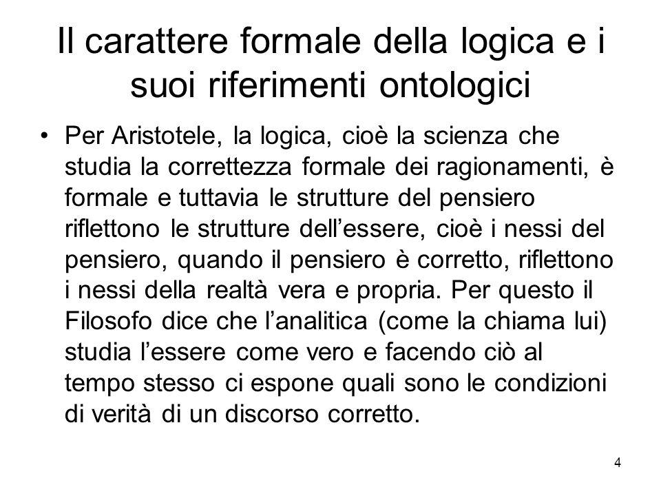 Il carattere formale della logica e i suoi riferimenti ontologici Per Aristotele, la logica, cioè la scienza che studia la correttezza formale dei rag