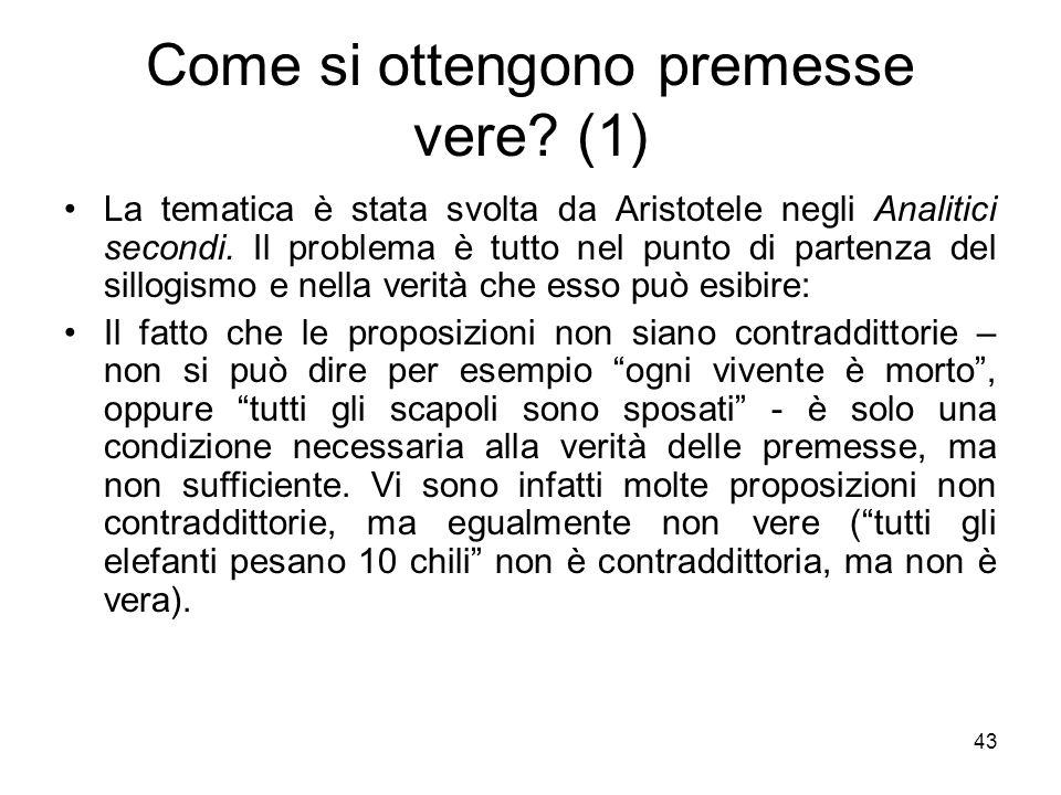 Come si ottengono premesse vere? (1) La tematica è stata svolta da Aristotele negli Analitici secondi. Il problema è tutto nel punto di partenza del s