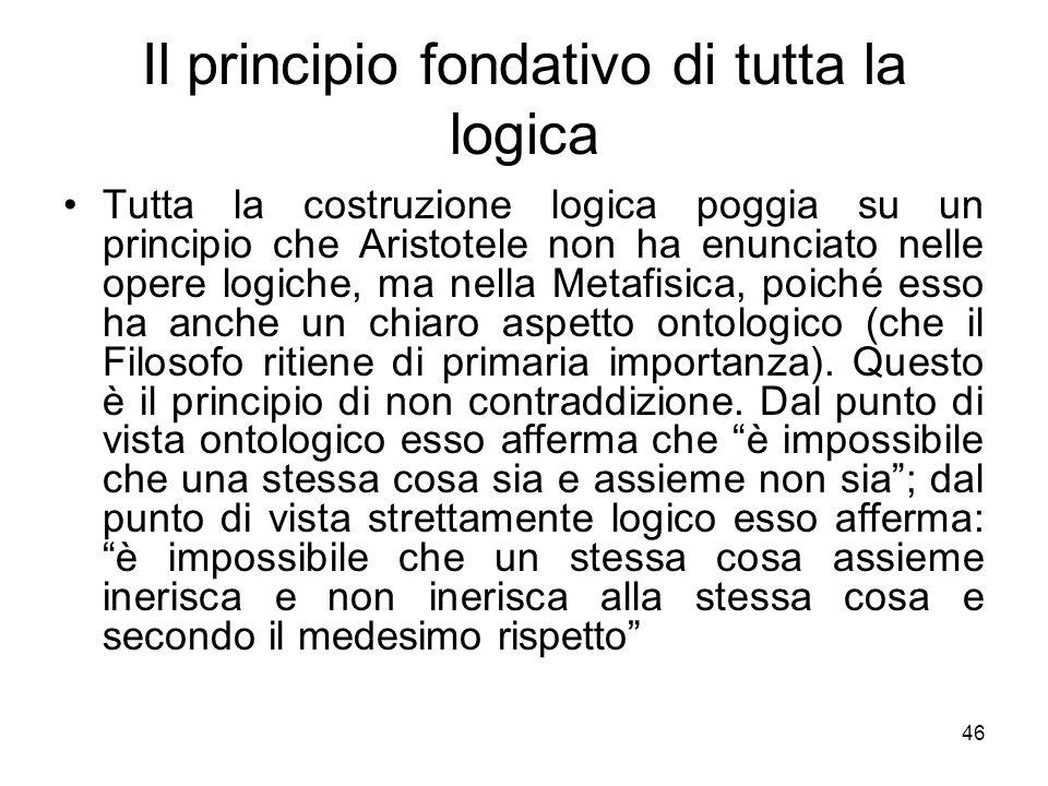 Il principio fondativo di tutta la logica Tutta la costruzione logica poggia su un principio che Aristotele non ha enunciato nelle opere logiche, ma n