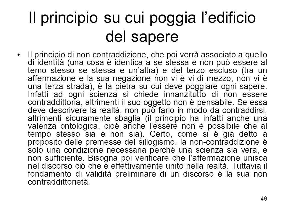 Il principio su cui poggia l'edificio del sapere Il principio di non contraddizione, che poi verrà associato a quello di identità (una cosa è identica
