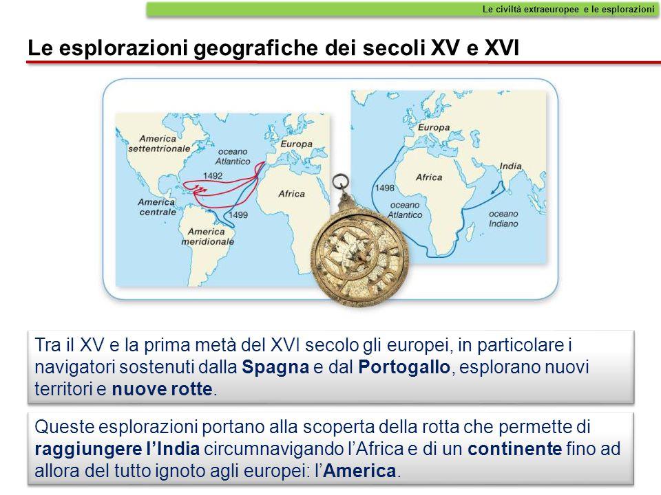 Le civiltà extraeuropee e le esplorazioni Le esplorazioni geografiche dei secoli XV e XVI Queste esplorazioni portano alla scoperta della rotta che pe