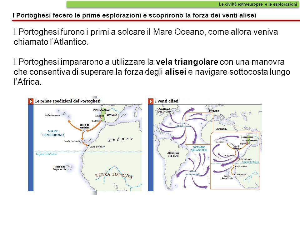Le civiltà extraeuropee e le esplorazioni I Portoghesi fecero le prime esplorazioni e scoprirono la forza dei venti alisei I Portoghesi furono i primi