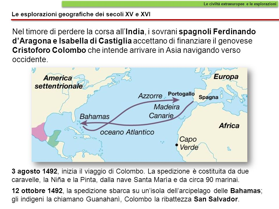 Nel timore di perdere la corsa all'India, i sovrani spagnoli Ferdinando d'Aragona e Isabella di Castiglia accettano di finanziare il genovese Cristofo
