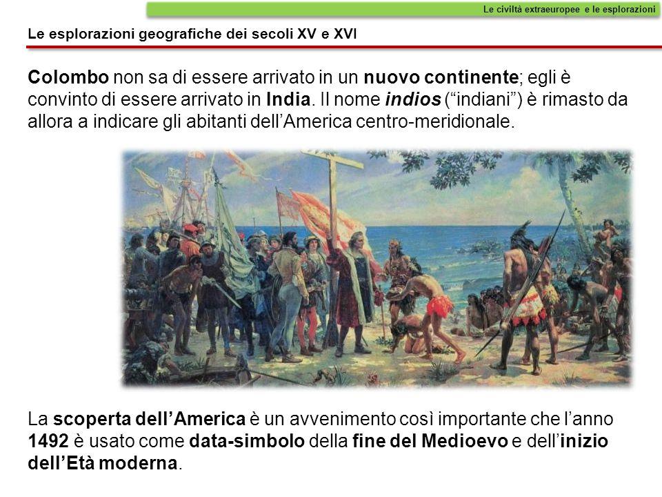 """Colombo non sa di essere arrivato in un nuovo continente; egli è convinto di essere arrivato in India. Il nome indios (""""indiani"""") è rimasto da allora"""