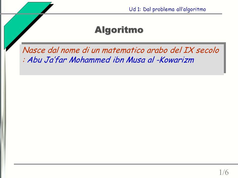 Algoritmo 1/6 Ud 1: Dal problema all'algoritmo Nasce dal nome di un matematico arabo del IX secolo : Abu Ja'far Mohammed ibn Musa al -Kowarizm
